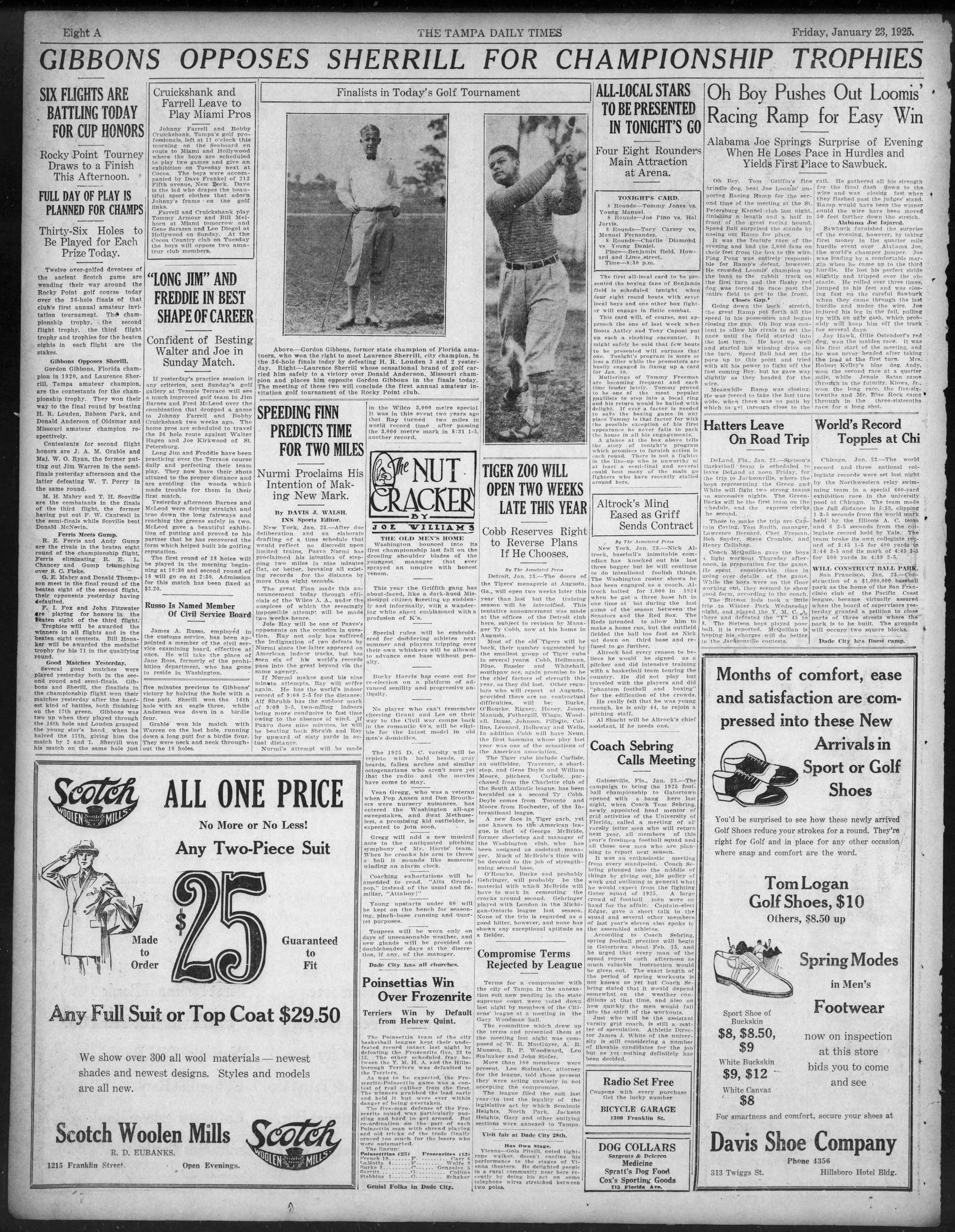 Rocky Point Tourney down to a finish this afternoon - Jan 23, 1925 Tampa Times