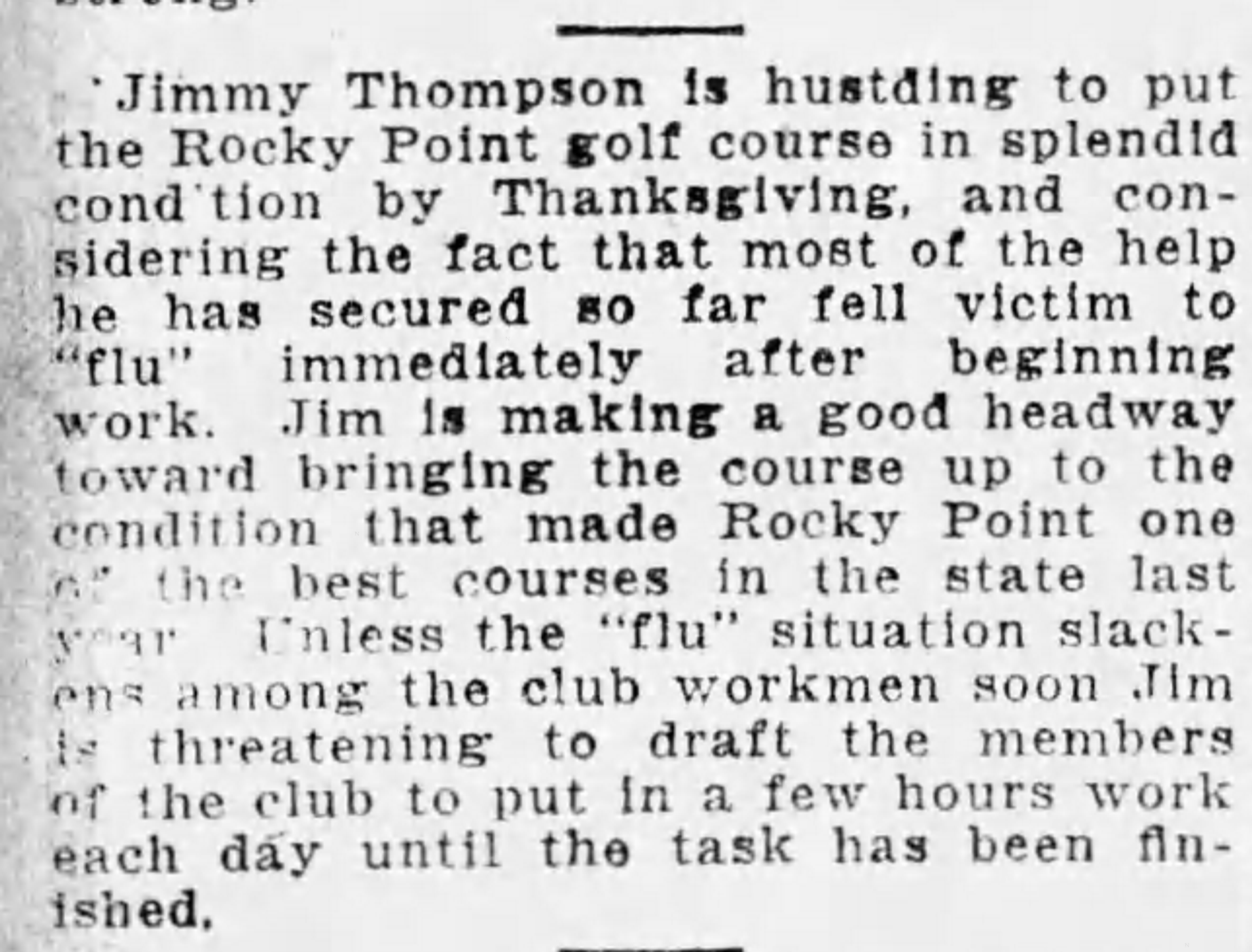 Rocky Point Golf Course Improvements Planned - Nov 1, 1918 Tampa Times