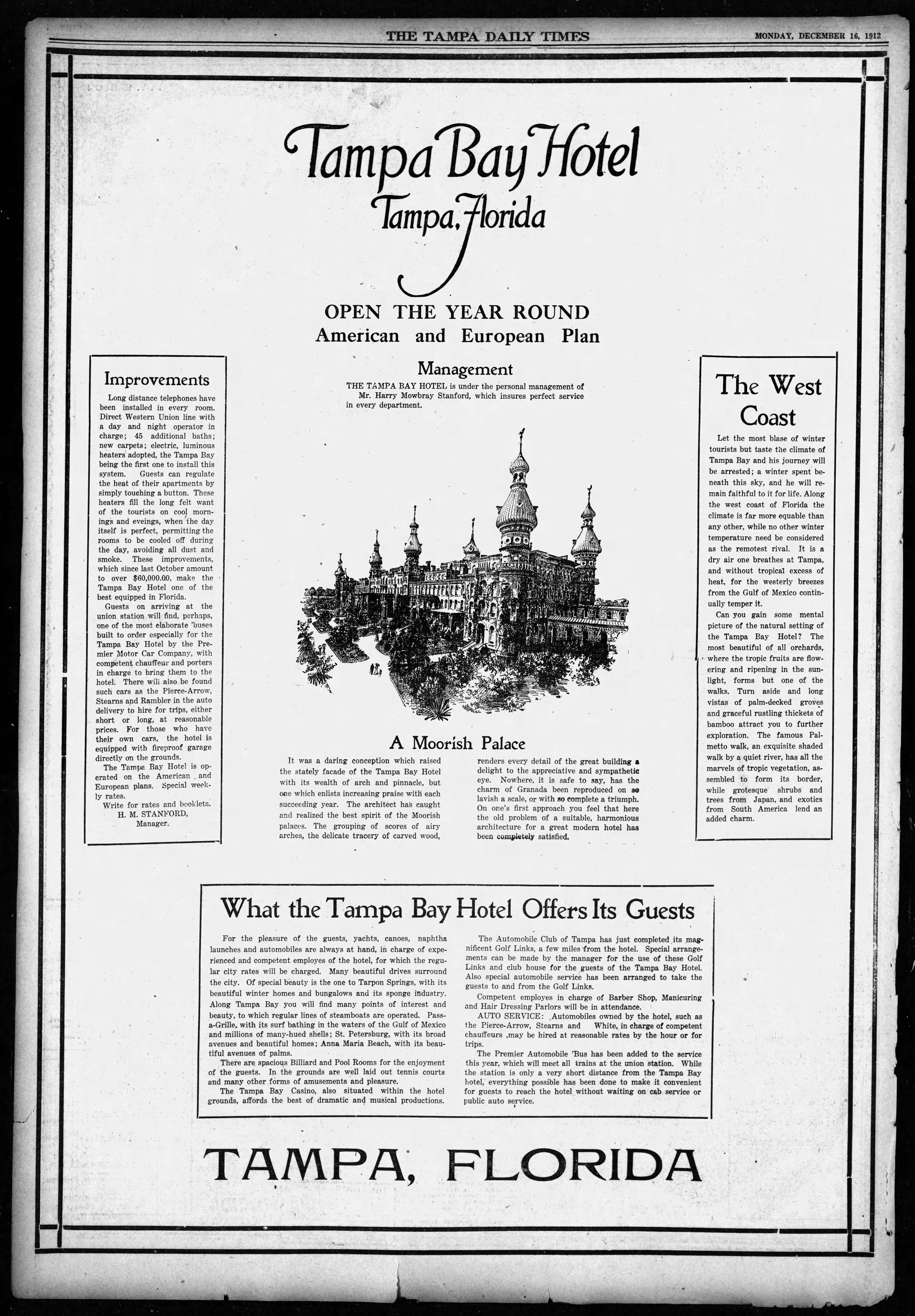 Rocky Point Golf Course Advertised within Tampa Bay Hotel Advertisement - Dec 16, 1912 Tampa Times