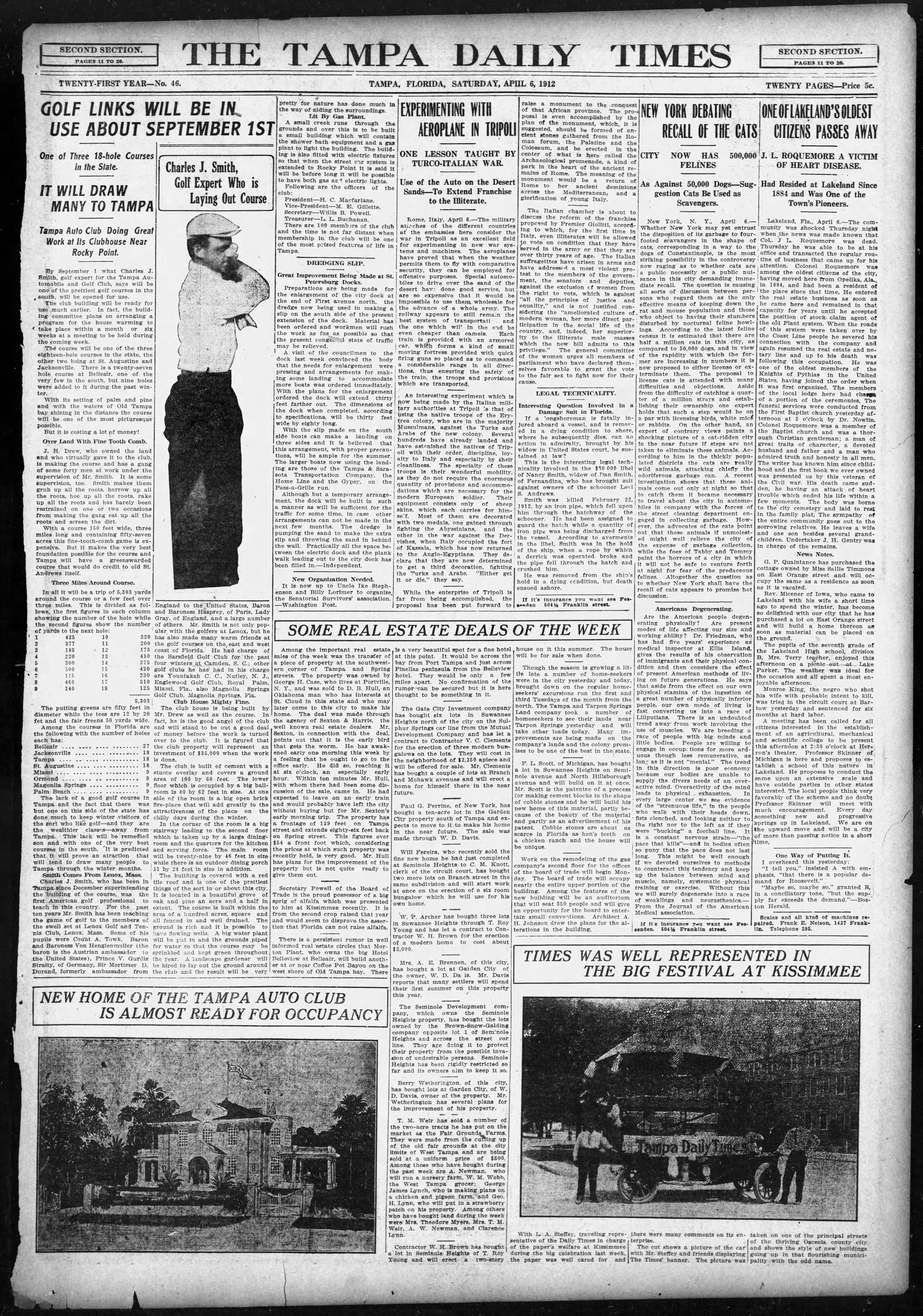 Golf links will be in use about Sept. 1st - Apr 6, 1912 Tampa Times