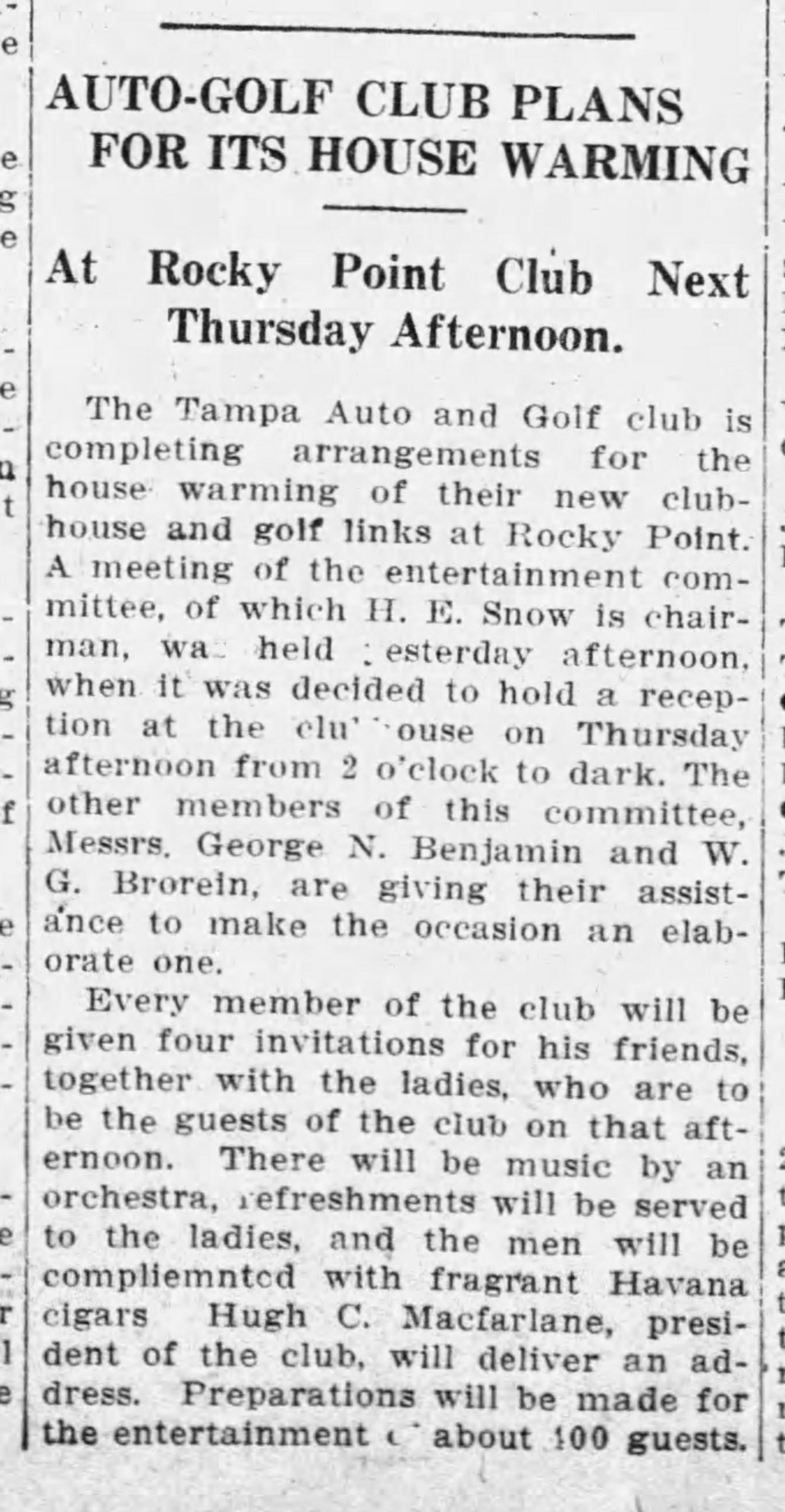 Auto-Golf Club Plans for its House Warming - May 4, 1912 Tampa Times