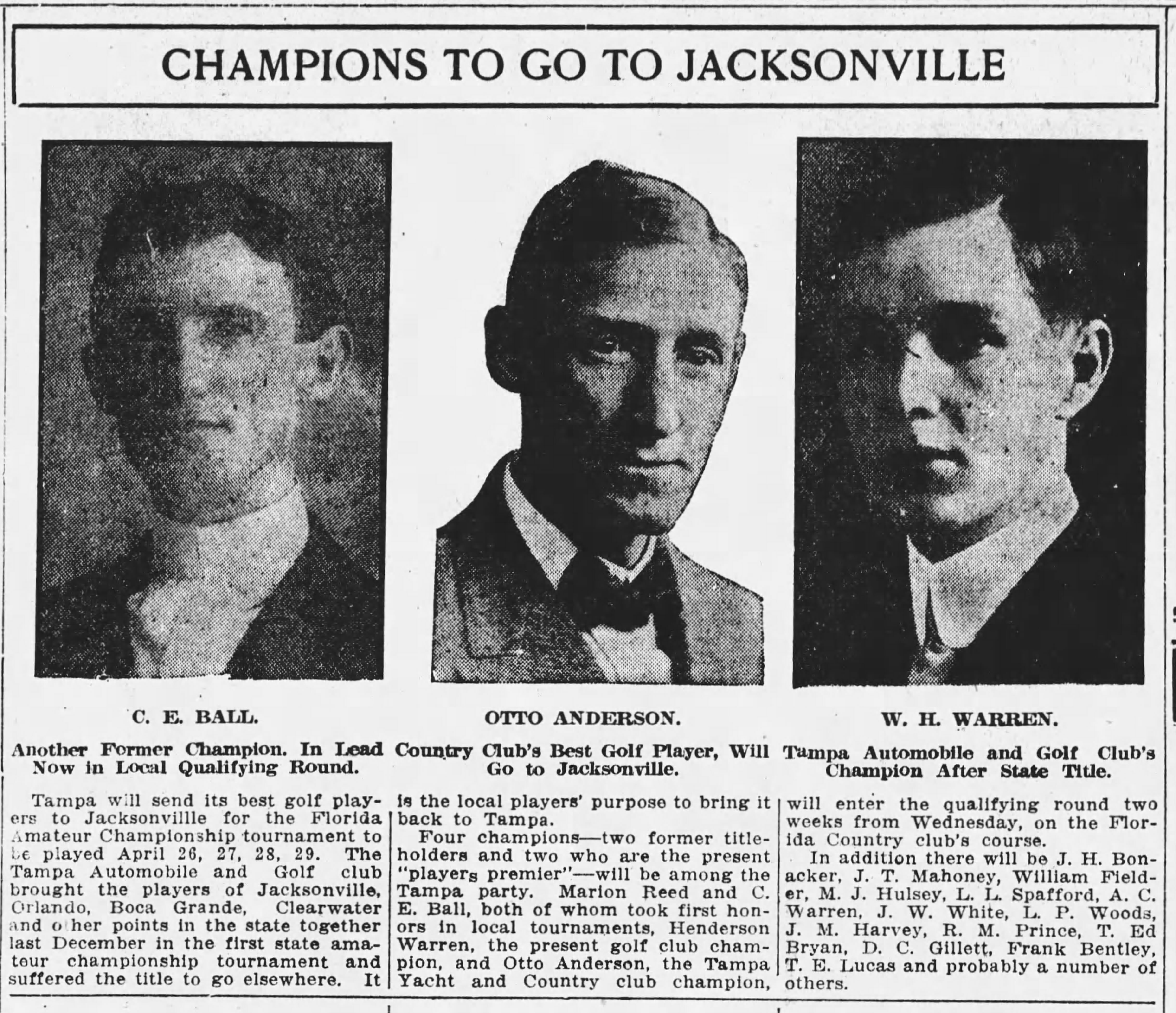 Tampa Automobile and Golf Club's Champion After State Title - Apr 11, 1916 Tampa Times