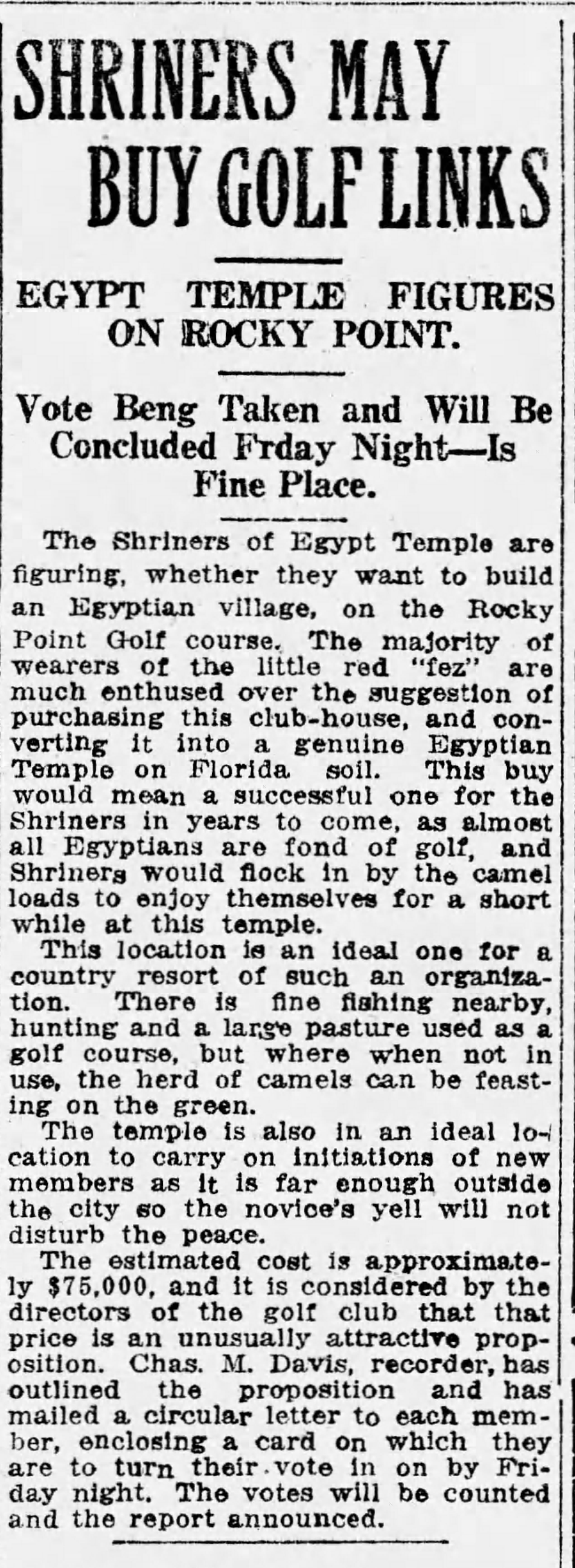 Shriners May Buy Golf Links - May 8, 1918 Tampa Times