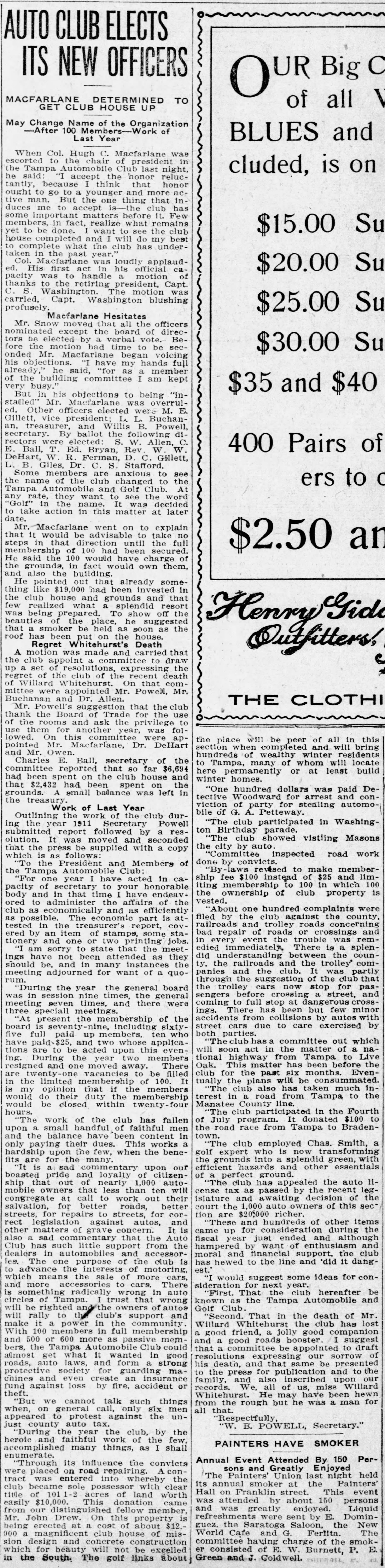 Auto Club Elects its New Officers - Jan 12, 1912 Tampa Tribune