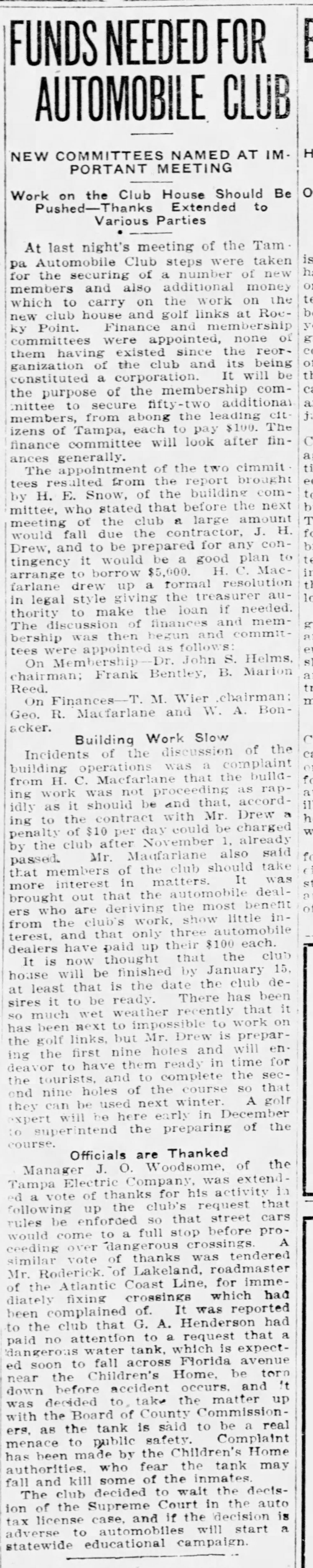 Funds Needed for Automobile Club - Nov 10, 1911 Tampa Tribune
