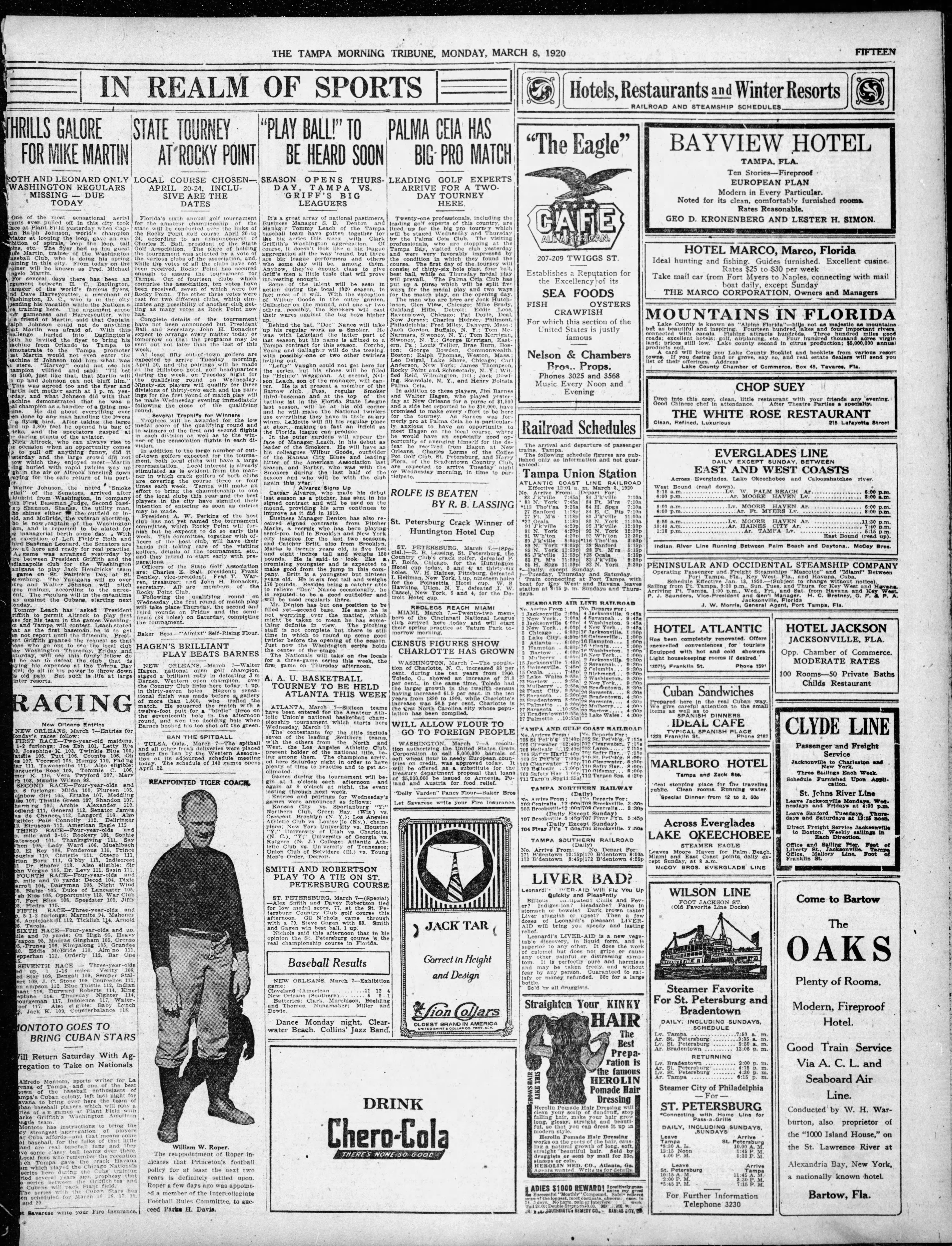 State Tourney at Rocky Point - Mar 8, 1920 Tampa Tribune