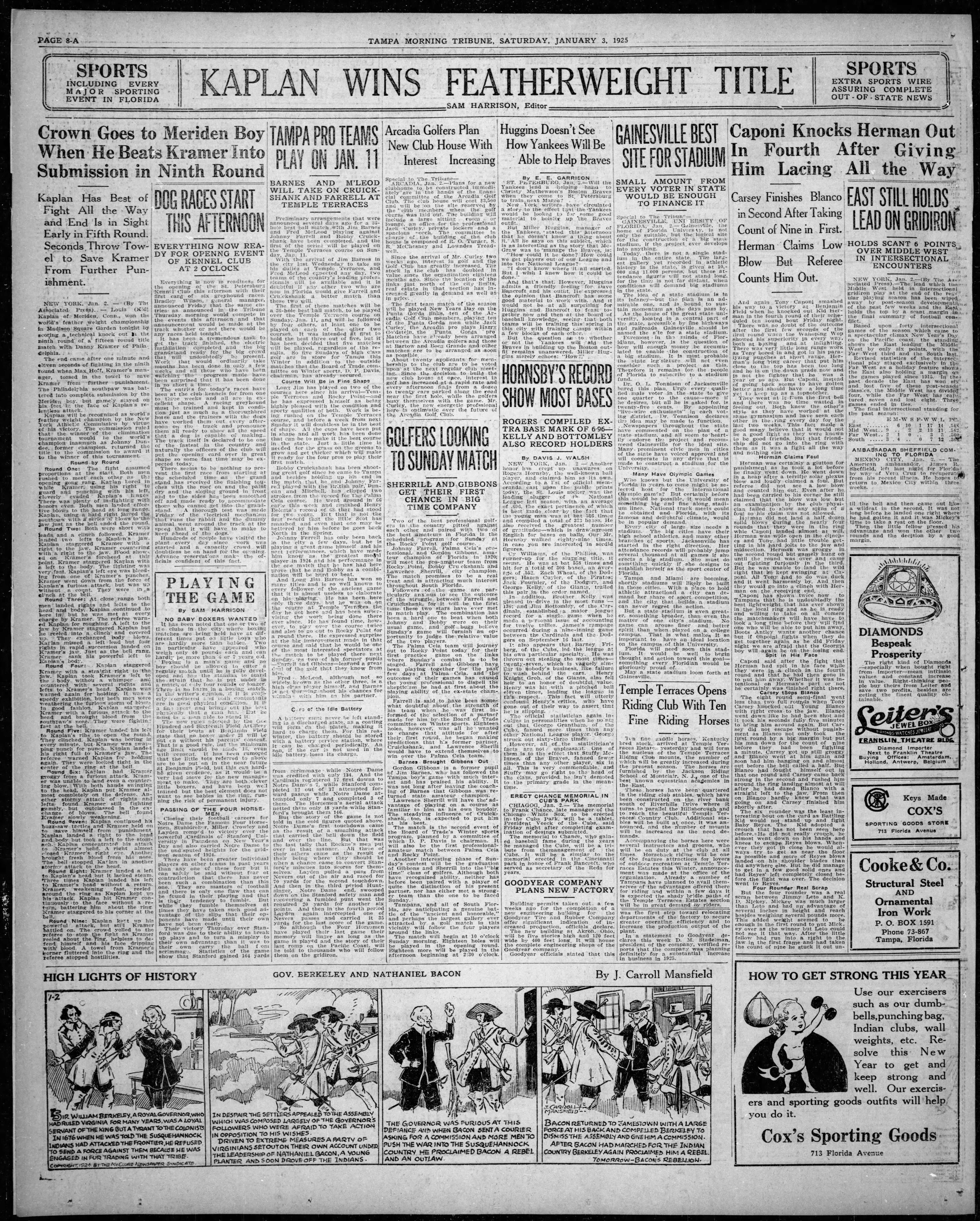 Tampa Pro Teams play on Jan. 11 - Jan 23, 1925 Tampa Tribune
