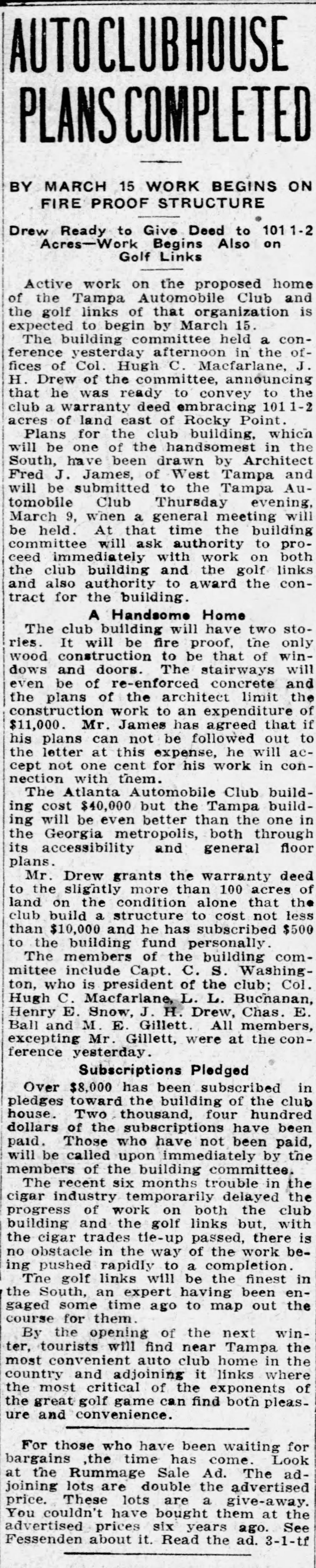 Auto clubhouse plans completed - Mar 4, 1911 Tampa Tribune