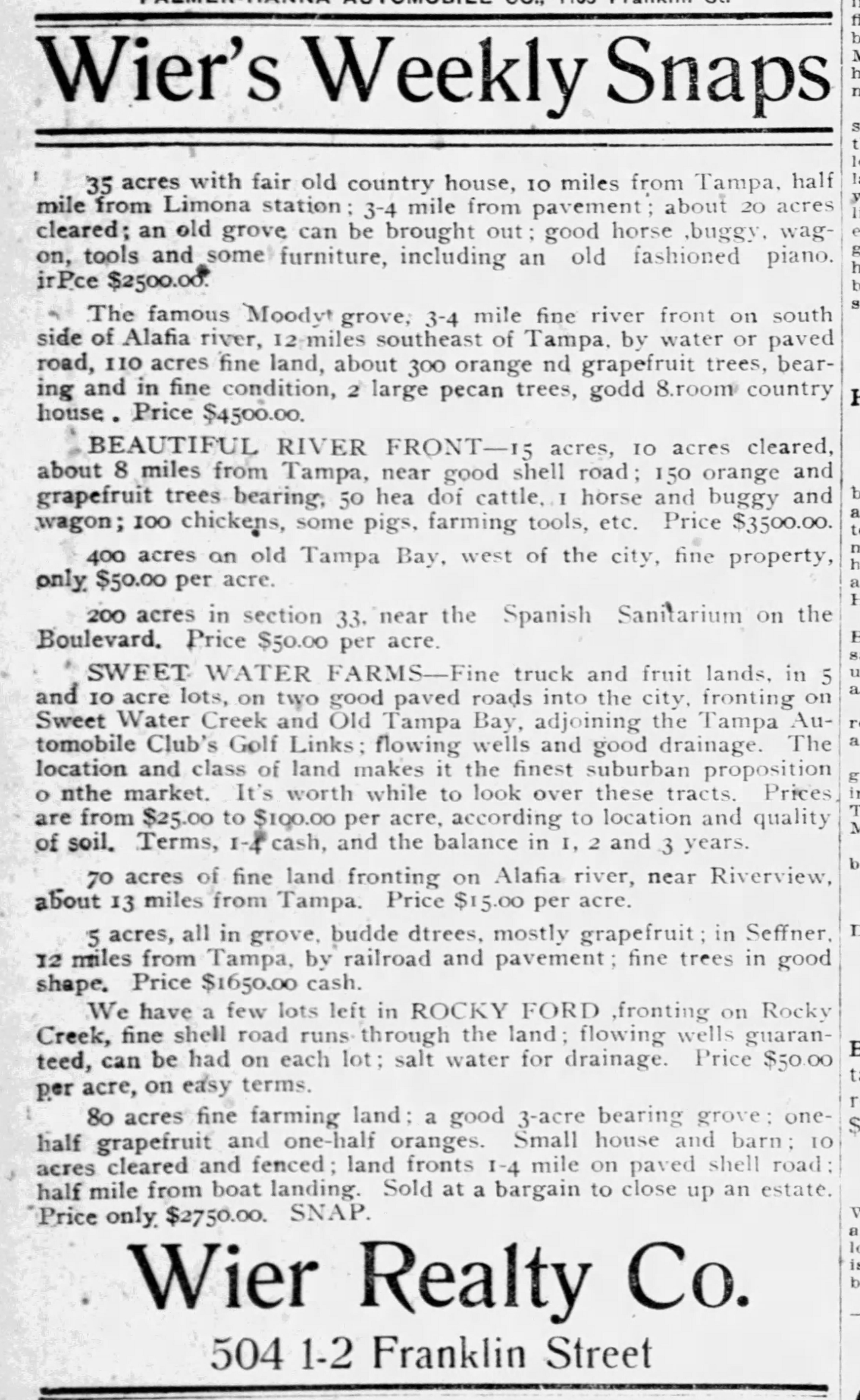 Sweet Water Farms Advertisement - Feb 19, 1911 Tampa Tribune
