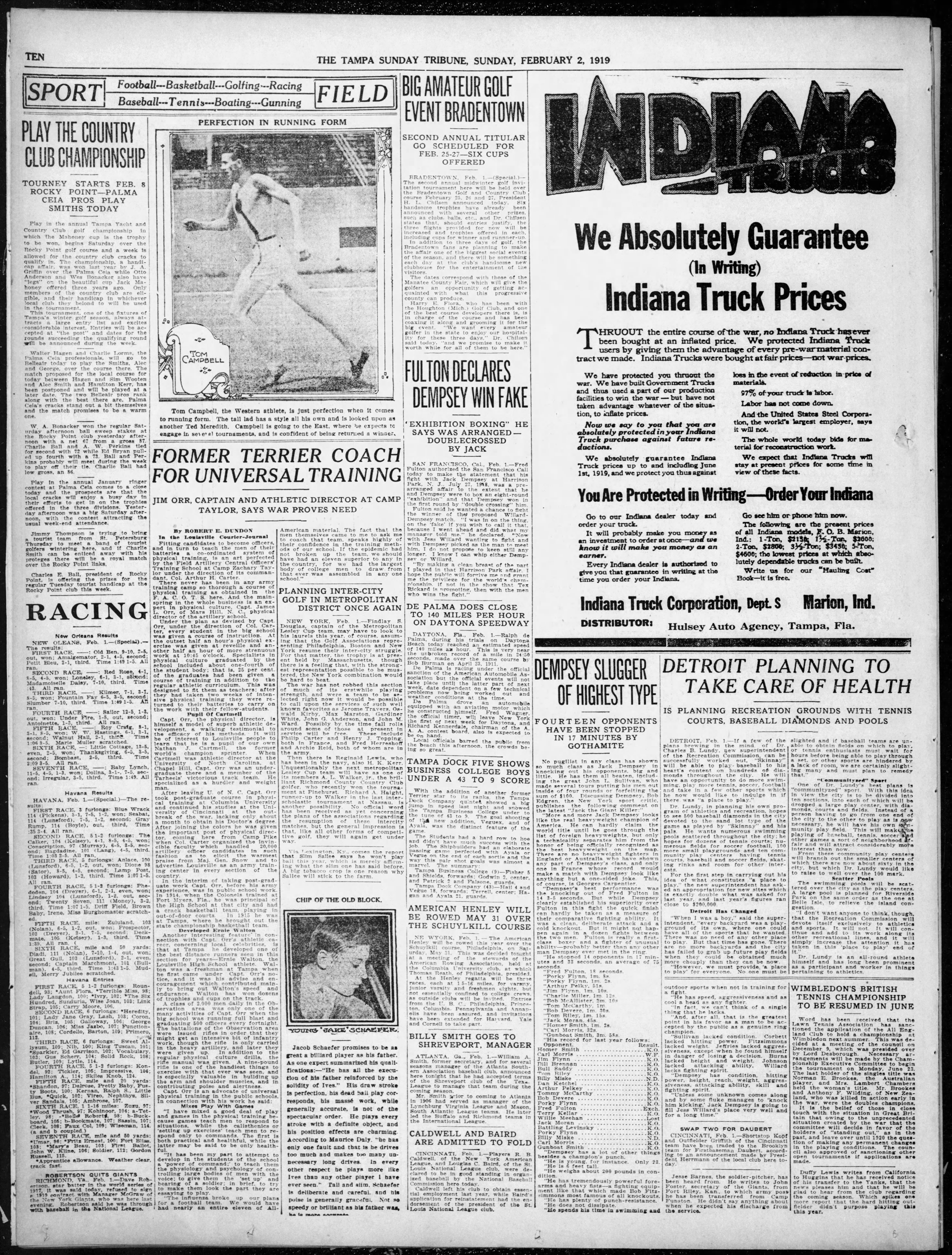 Play the Country Club Championship - Feb 2, 1919 Tampa Tribune