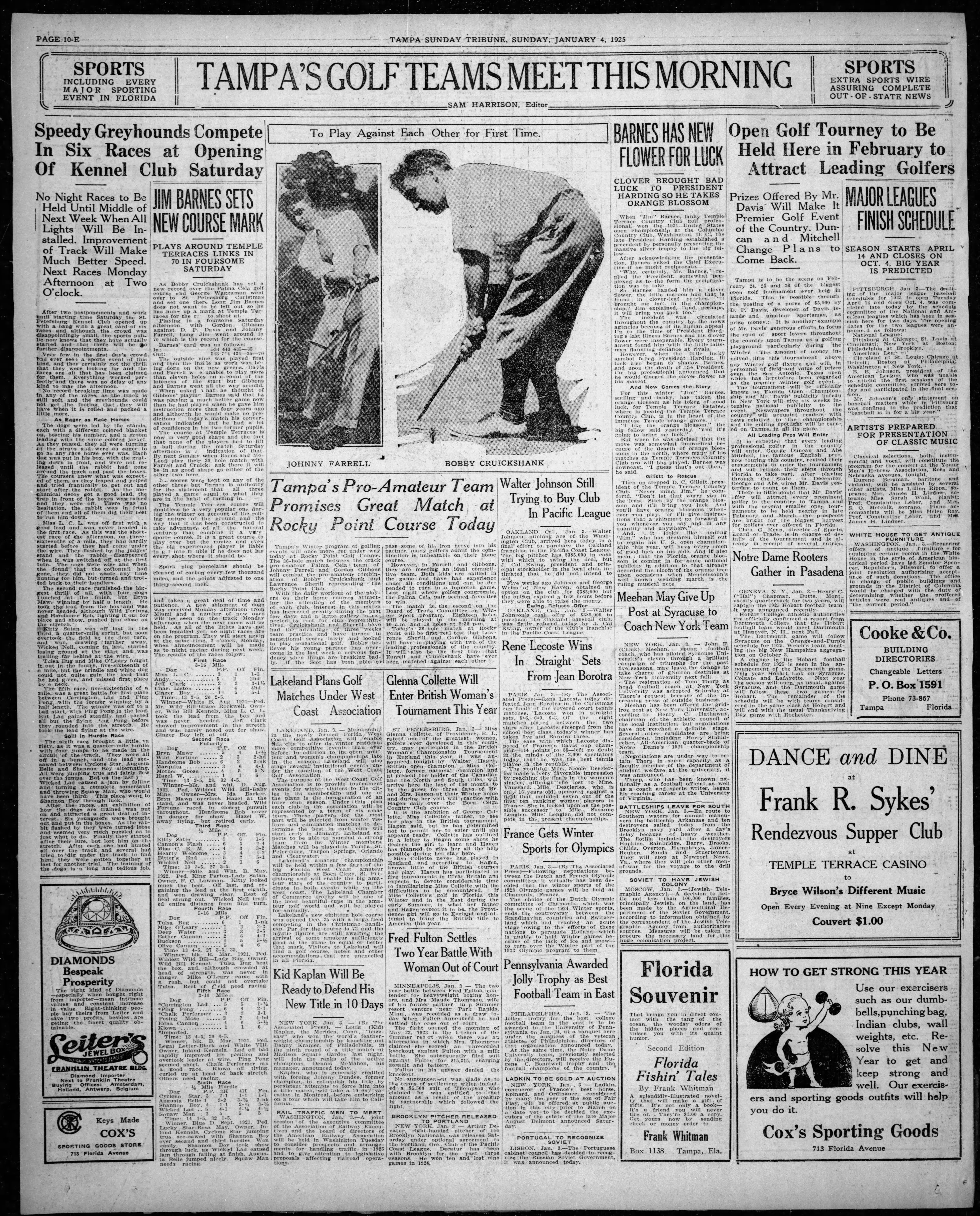 Tampa's Pro-Amateur Team Promises Great Match at Rocky Point Course Today - Jan 4, 1925 Tampa Tribune
