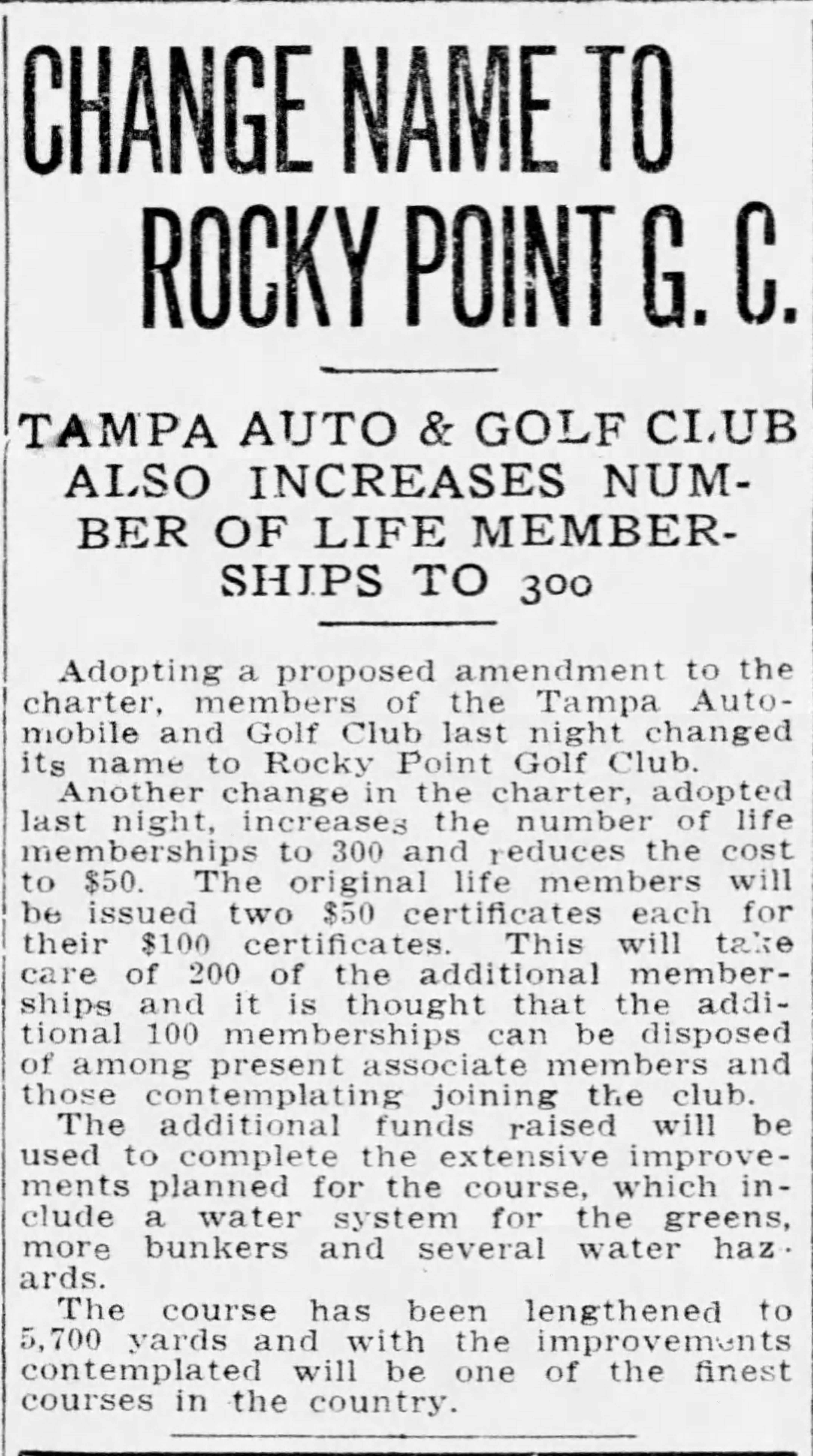 Change name to Rocky Point G.C. - May 31, 1917 Tampa Tribune